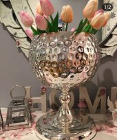 Sadehomedecor Lucky Art Gümüş Renk Vazo 35 Cm