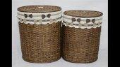 Homex Kahve Oval İkili Bambu Hasır Sepetler 48x35x58cm 43x30x53cm