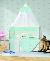 Mavi Beşik Örtüsü Bebek Uyku Seti Ebrar
