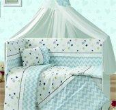 Yıldızlı Mavi Beşik Örtüsü Bebek Uyku Seti