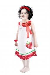 çilek Baskılı Yazlık Çocuk Elbisesi