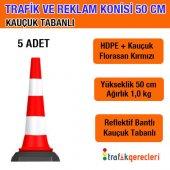 Trafik Ve Reklam Konisi 50 Cm Kauçuk Tabanlı (5 Adet)
