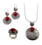 Mercan Taşlı Çekiç Dövme Gümüş Set