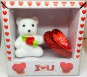 14 Şubat Sevgililer Günü Beyaz Ayıcık Ve Kırmızı Kalp