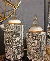 Sadehomedecor Luckyart Modern Dekoratif 2 Li Set Küp (39cm 33 Cm)