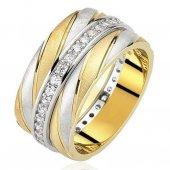 Altın Kaplama Taşlı Gümüş Bayan Alyans Yüzük Al68 1