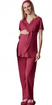 Mecit Krovaze Yaka Kadın Kısakol Lohusa Pijama Takımı 5019