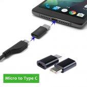 Type C Usb 3.1 To Micro Usb Şarj Çevirici Adaptör Siyah