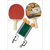 özel Çantalı Masa Tenisi Seti 2 Raketi + 3 Pinpon Topu + File