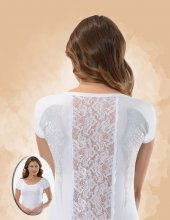 Belinay 1088 Sırtı Dantelli Taşlı Bayan T Shirt