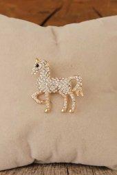 Zirkon Taşlı At Figürlü Broş