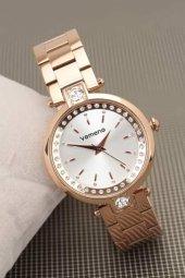 2 Yıl Garantili Vomeno Marka Yeni Sezon Rose Renk Metal Kordonlu Beyaz İç Tasarımlı Bayan Kol Saati