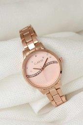 Rose Renk Metal Kordonlu Rose Renk Zirkon Taşlı İç Tasarımlı Clariss Marka Bayan Kol Saati