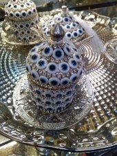 Kristal Taşlı Gümüş Kahve Fincanı Lokumluk Seti Nazar Taşlı