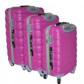 Boyraz Abs Li 3lü 4 Tekerlekli Valiz Seti,seyehat Çantası,bavul,