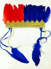 Renkli Kızılderili Başlığı Tüylü Bordo Mavi