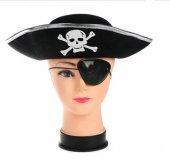Korsan Şapkası Ve Göz Maskesi Gümüş Renk