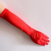 Kırmızı Renk Dirseğe Kadar Uzun Kumaş Eldiven