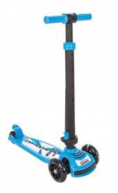 Pilsan Power Katlanabilir Scooter Mavi Renk Led Işıklı 3 Tekerlek