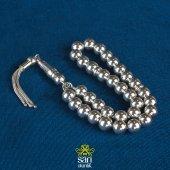 Gümüş Tesbih Küre Kesim 8 Mm X 8 Mm 925 Ayar Gümüş Püsküllü Günlük Çekim İçin Uygun S00259