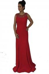 Abiyesultan Kırmızı Renk Uzun Abiye Elbise