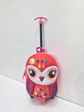 Haeja Tatlı Baykuş Çok Renkli Kız Çocuk Çekçekli Sırt Çantası