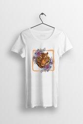 Tiger Flower Baskılı Yırtmaçlı Oversize Kadın Tshirt