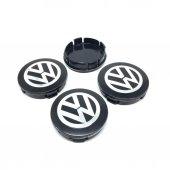 Volkswagen Siyah Gri Metal Geçme Jant Göbeği 4lü 5...