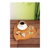 Bambu Kalp Tepsi Çay Kahve Sunum Tepsisi Çeyizlik Ahşap Bambu Orta Kalp Tepsi 27cm Dekoratif Ahşap