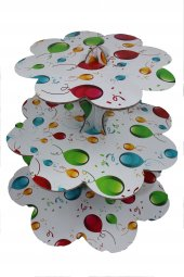 Roll Up 3 Katlı Kek Standı Balon Desenli