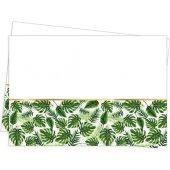 Roll Up Plastik Masa Örtüsü Altın Simli Yapraklar Yeşil 120 X 180 Cm