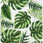 Roll Up Kağıt Peçete Altın Simli Yapraklar Yeşil 33x33 Cm