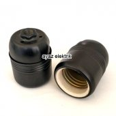 Dekoratif E27 Siyah Metal Porselen Duy, Standart Avize Ampul Abajur Duyu