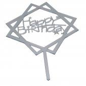 Happy Birthday Yıldızlı Pleksi Pasta Yazısı Gümüş