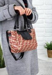 Mome Bej Cilt Kırmızı Detaylı Çanta