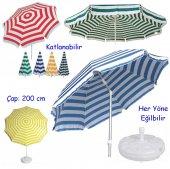 2 Metre Gölgelik Bidonlu Şemsiye Plaj Şemsiyesi Gölgelik Şemsiye