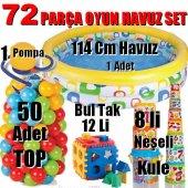 72 Parça Oyun Havuzu Seti Havuz + 50top +12bultak + 8kule + Pompa