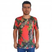Antler Turuncu Orman Desen Kısa Kollu Tshirt Xl