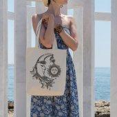 Angemiel Bag Ayın Güneş İle Birlikteliği Alışveriş Plaj Bez Çanta
