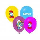 Balon Evi Şirinler Baskılı 4+1 12 İnç Karışık Renkli Balon