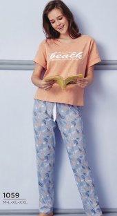 Kuğu Desen Detaylı Pijama Takımı Bb 1059