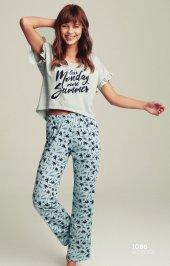 Palmiye Desen Detaylı Pijama Takımı Bb 1066