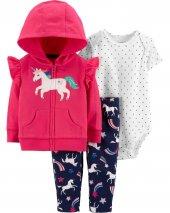 Zekids Kız Bebek Unicorn Desenli 3lü Set