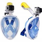 Dalış Şnorkel Maske Aksiyon Kamera Takılan Beden S*m Mavi