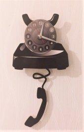 çevirmeli Nostaljik Telefon Sallanır Sarkaçlı Duvar Saati