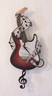 Elektro Gitar Sallanır Sarkaçlı Duvar Saati
