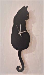 Siyah Kedi Sallanır Sarkaçlı Duvar Saati