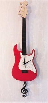 Bas Gitar Sallanır Sarkaçlı Duvar Saati (Kırmızı)