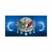 Led Işıklı Osmanlı Armalı Mavi Hilal Tablosu 70 Cm X 140 Cm