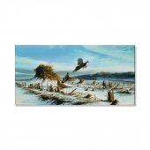 Kış Mevsimi Ve Kuşlar Kanvas Tablosu 80 Cm X 160 Cm